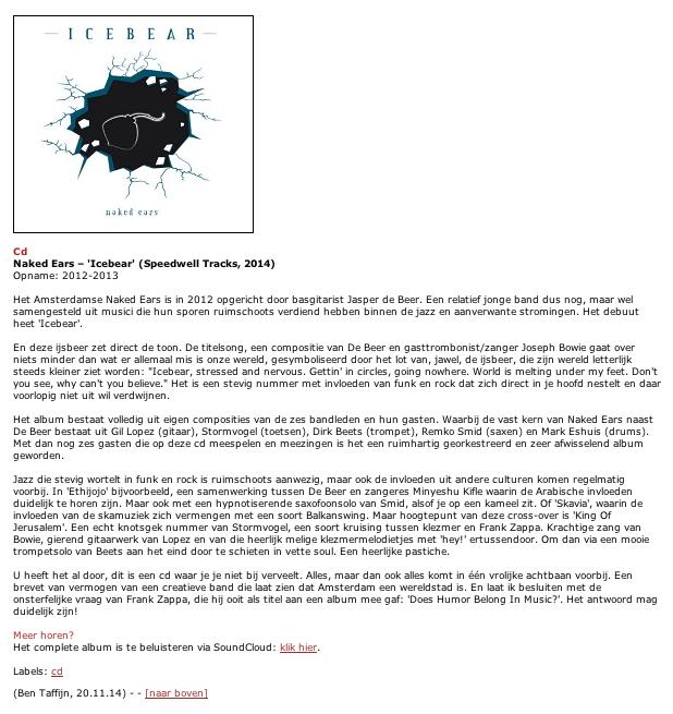 NAKED EARS CD recensie Draai om je Oren